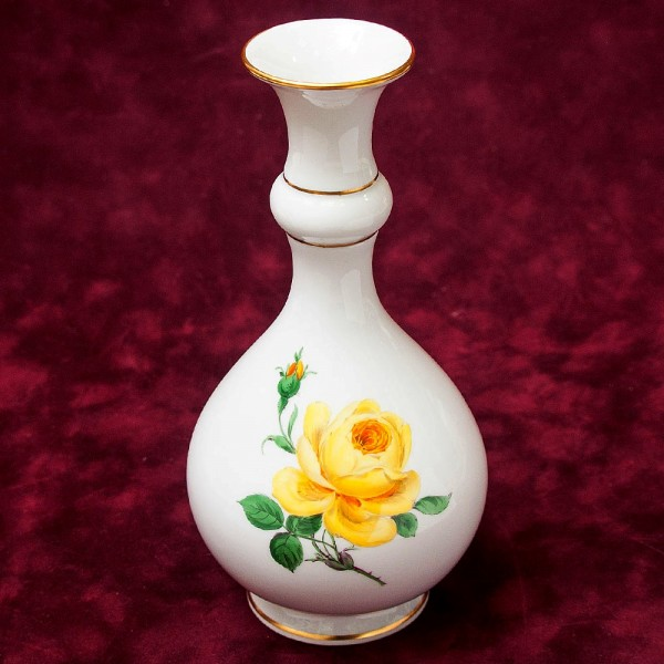 Коллекционная Фарфоровая Вазочка «Желтая Роза» Н -18,5 см., MEISSEN / МЕЙСЕН, Германия.