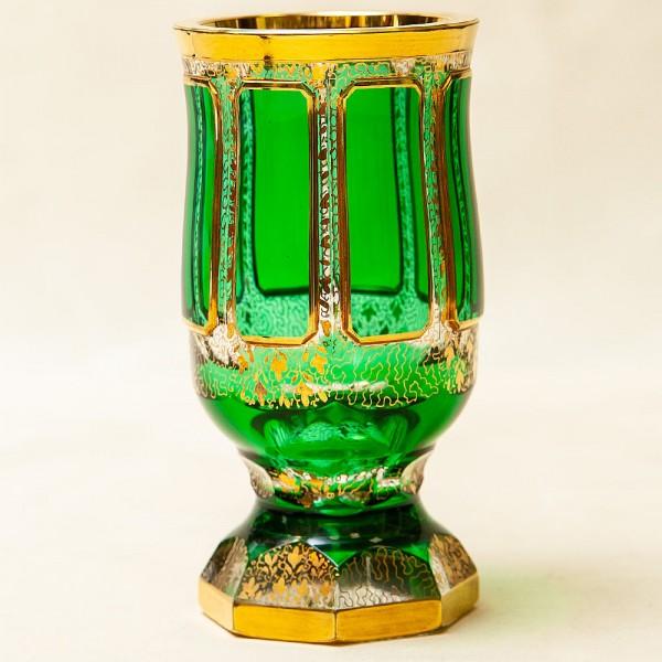 Коллекционная Ваза - Кубок «Зелёный Изумруд», Хрусталь ERNST WITTIG, Германия середина ХХ века.