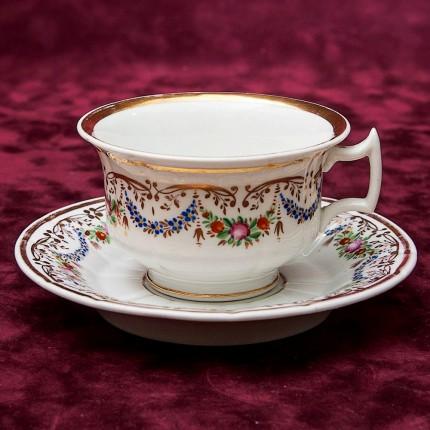 Большая Редкость!!! Антикварная Фарфоровая Чайная пара, KPM, Германия - конец ХIX века.