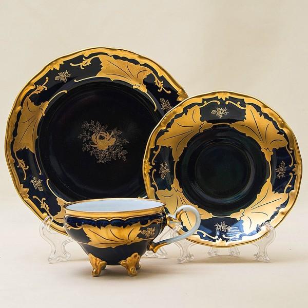 Коллекционная Чайная пара+Тарелка (Тройка) «Золотой Лист» Фарфор WEIMAR Porzellan. Германия.