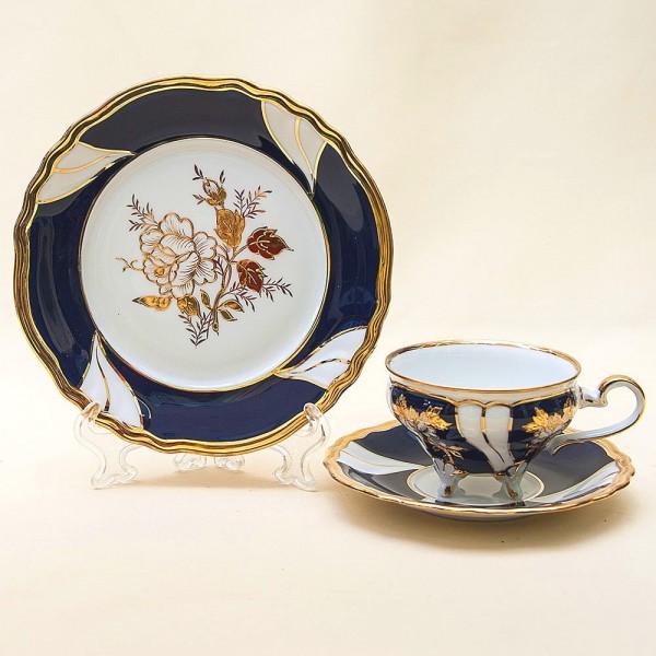 Коллекционная Чайная пара+Тарелка (Тройка) «Розы» Фарфор WEIMAR Porzellan. Германия.