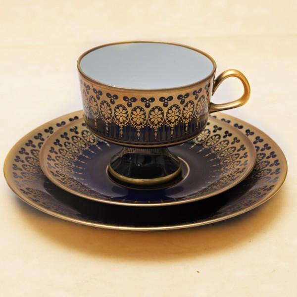 Коллекционная Чайная пара+Тарелка (Тройка) Фарфор, Кобаль, LICHTE Германия - ГДР