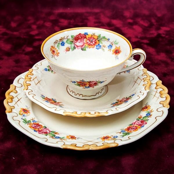 Чайная пара+Тарелка (Тройка) Фарфор «Краски лета» Reichenbach Porcelain, начало XX века