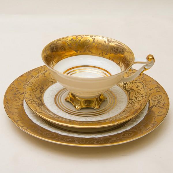 Коллекционная Чайная пара+Тарелка (Тройка) Фарфор  WEIMAR Германия -1924 год.