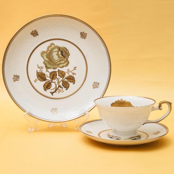 Чайная пара+Тарелка (Тройка) «Золотая Роза» Фарфор Бавария, 60 -е годы прошлого века.