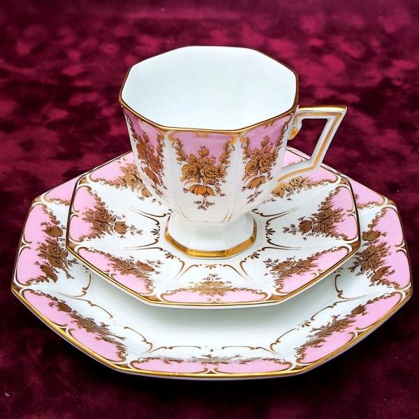Коллекционная Чайная пара+Тарелка (Тройка) «Золотые розы» Фарфор KAISER, Германия