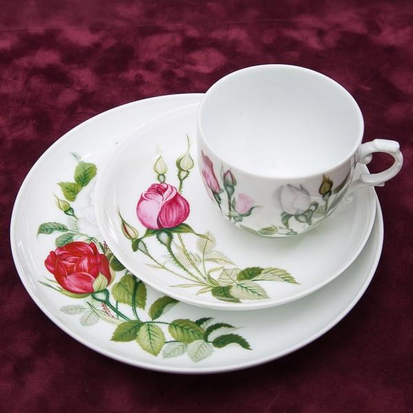 Коллекционная Чайная пара+Тарелка (Тройка) «Садовые розы» Фарфор Furstenberg Германия 60-е годы ХХ века..