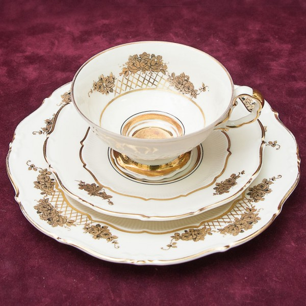 Коллекционная Чайная пара+Тарелка (Тройка) Фарфор WEIMAR Porzellan. Германия 1924-1948гг.