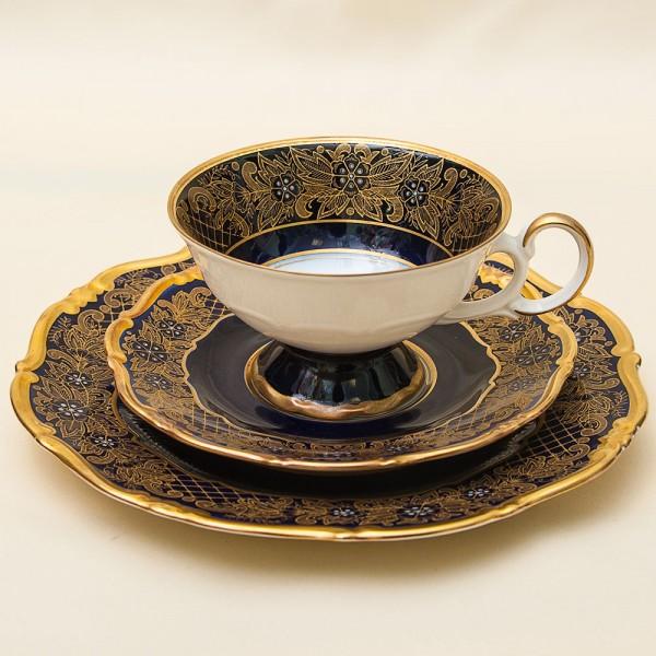 Коллекционная Чайная пара+Тарелка (Тройка) Фарфор WEIMAR Porzellan. Германия 1948-1949гг.