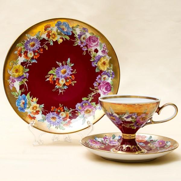 Редкая!!! Чайная пара+Тарелка (Тройка) Фарфор Rudolf Wachter Германия 60 -е годы ХХ века.