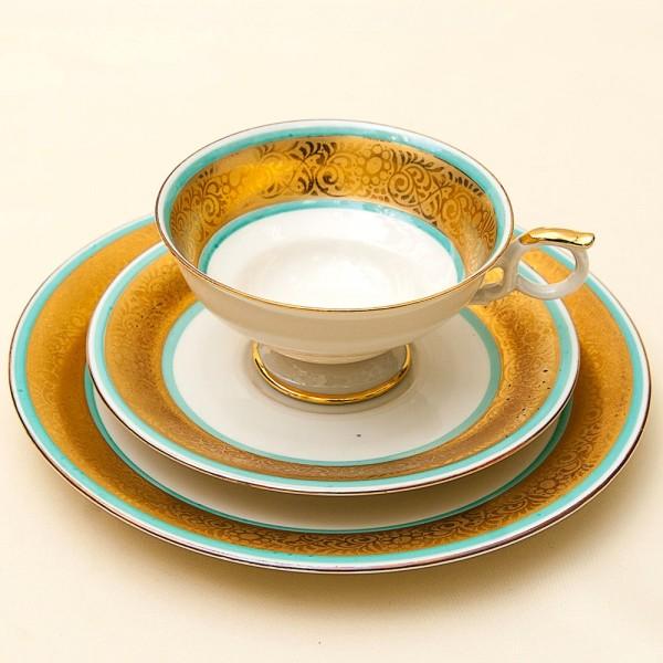 Коллекционная Чайная пара+Тарелка (Тройка) Фарфор Elfenbein Porzellan. Германия 1935-1946гг.