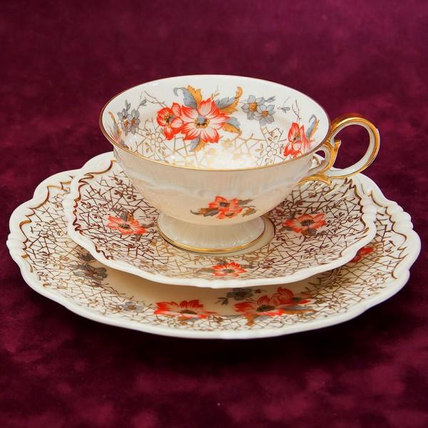 Коллекционная Чайная пара+Тарелка (Тройка) Фарфор SORAU Carstens, Германия 1919-1945 годы.