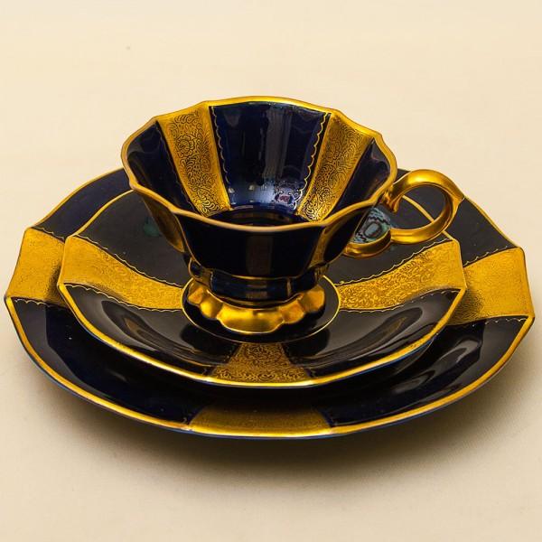 Коллекционная Чайная пара+Тарелка (Тройка) Фарфор, Lindner Kups, Германия 40-е годы..