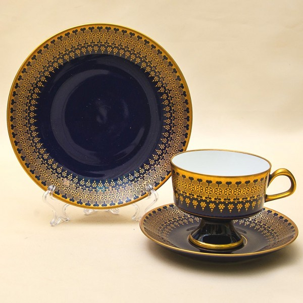 Кобальтовая Чайная пара+Тарелка (Тройка) Фарфор,  LICHTE Германия - ГДР