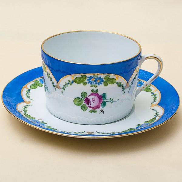 Коллекционная Чайная Пара -1910год, Фарфор, Ручная Роспись, Лимож Limoges-Dumont Франция.