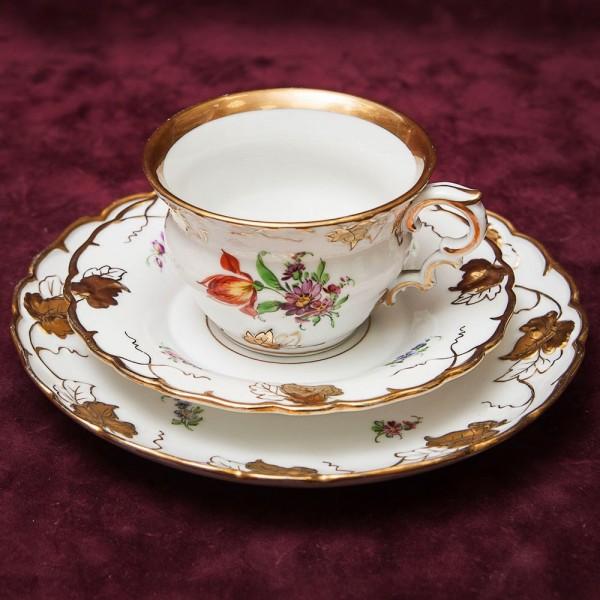 Редкая!! Антикварная Коллекционная Чайная пара+Тарелка (Тройка) Фарфор Von Schierholz Германия -30-е годы.
