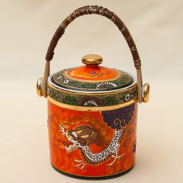 Фарфоровая Чайница «Дракон» - Баночка с крышкой - Сахарница, Nippon Tokusei, Япония 50гг.