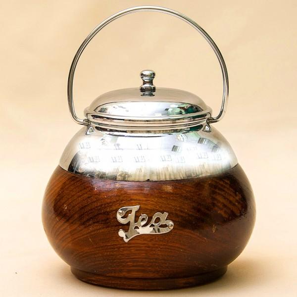 Винтажная Чайница или Баночка с крышкой, Дерево, Металл, Англия.