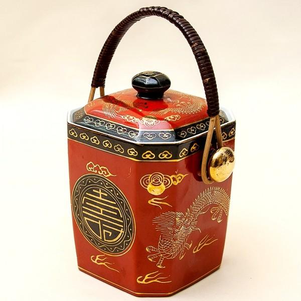 Фарфоровая Чайница «Золотой Дракон» - Баночка с крышкой, Nippon Tokusei, Япония 50гг.