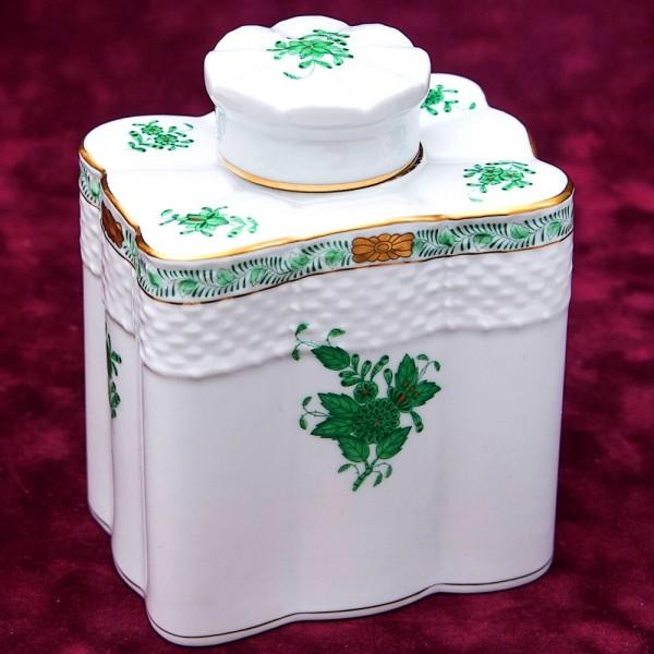 Фарфоровая Чайница - Вазочка - Баночка с крышкой APPONYI GREEN, HEREND, Венгрия.