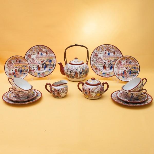 Винтажный Чайный Фарфоровый Сервиз «В САДУ» на 4-е персоны, Япония, 60-е годы XX века.