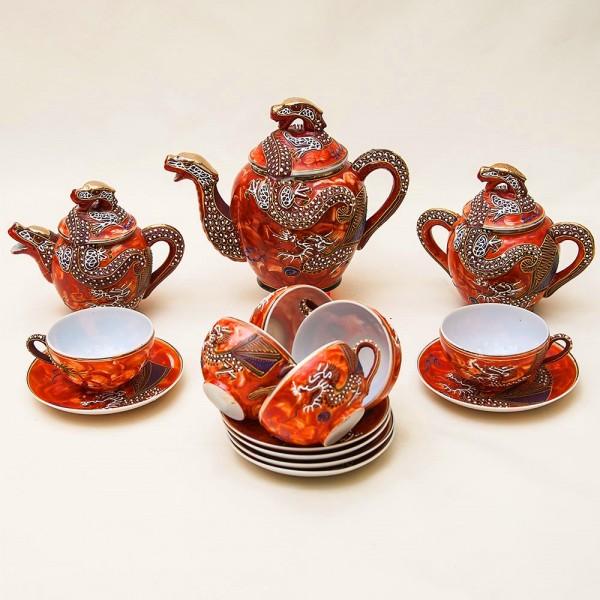 Чайный Сервиз «Огненные драконы» на 6 -ть персон, 15 предметов, Фарфор Япония 50 гг.