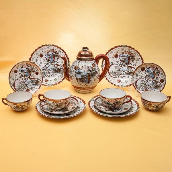 Чайный Фарфоровый Сервиз на 4-е персоны Dai Nippon, Япония, первая половина XX века.