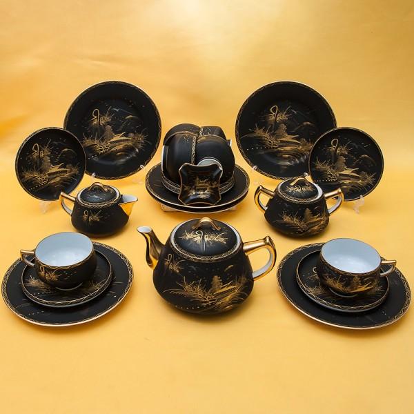 Редкость! Чайный Фарфоровый Сервиз «Золото Мира» Kutani (Кутани) - Япония, 60 -е годы ХХ века.