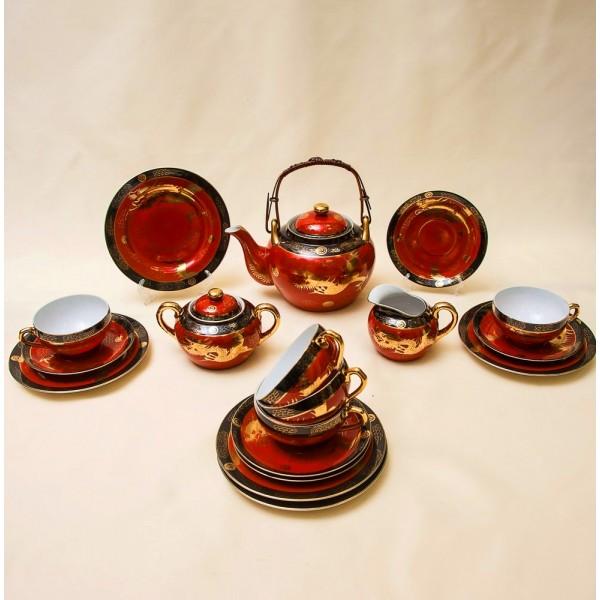 Чайный Фарфоровый Сервиз «Золотые драконы»  на 5-ть персон Фарфор, Япония- 50 -е годы ХХ века.