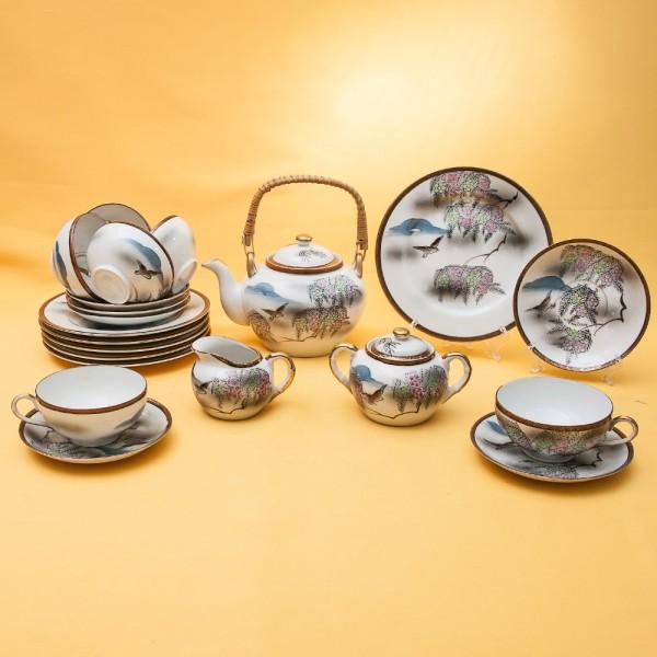 Чайный Фарфоровый Сервиз «Весенняя Сакура» на 6-ть персон, 21 предмет, Япония, 60-е XX века.