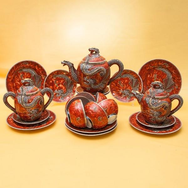 Фарфоровый Чайный Сервиз «Огненные драконы» на 6-ть персон, Япония, середина XX века.