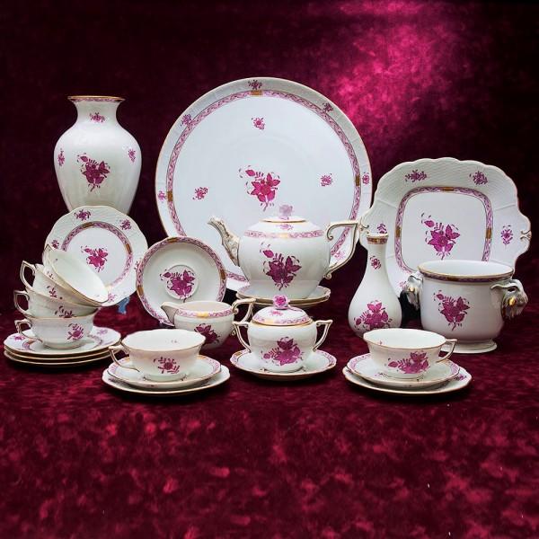 Большой Чайный сервиз APPONYI PURPUR 26 предмета. Фарфор HEREND, Венгрия.