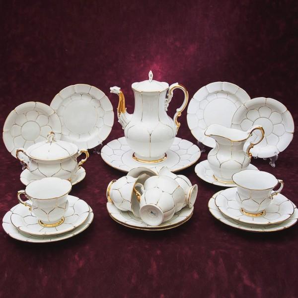 Чайный Сервиз «Белое Золото» на 6 персон, Фарфор MEISSEN / МЕЙСЕН Германия -70гг.