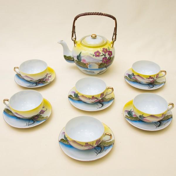 Винтажный Чайный Фарфоровый Сервиз «Цветущая Сакура» на 6-ть персон, Япония, 50-е годы XX века.