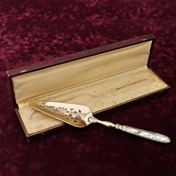 Винтажная Лопатка для подачи «НОВОГОДНЯЯ» в бордовом футляре Франция Silverplate