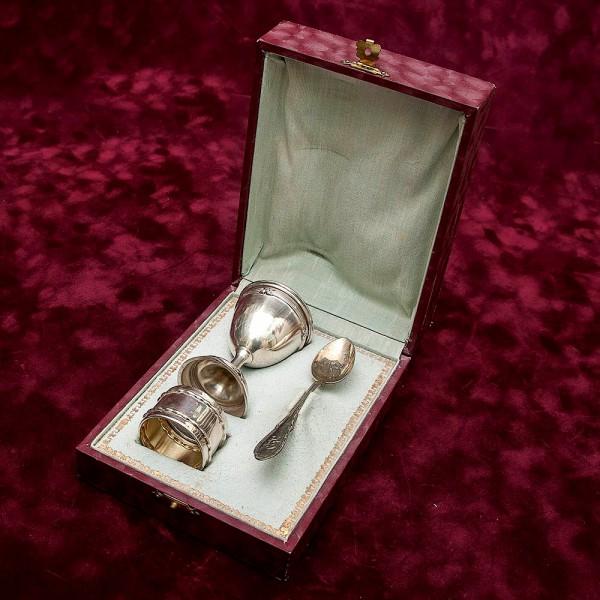 Винтажный Набор для яйца «Королевское утро» 835-е Серебро, Германия, 40- е годы XX века.