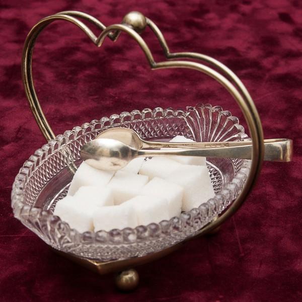 Сахарница - Конфетница -  на металлической подставке Silverplate Стекло Англия 70-е гг.