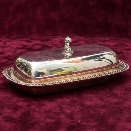 Винтажная Масленка - Сырница c крышкой, SILVERPLATED On Brass CAVALIER Англия 70-гг.