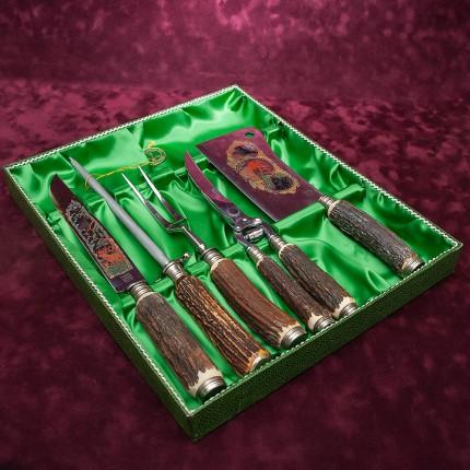 Набор для Барбекю «Охота» - 5 предметов, Германия, CARL STOKER Solingen, 70 -е годы ХХ века.