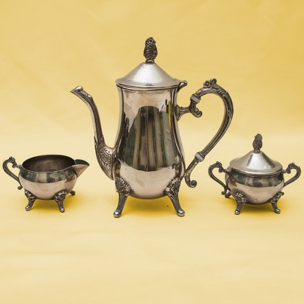 Винтажный Кофейно-Чайный набор из 3 -х предметов, металл Silverplate Англия, середина ХХ века.