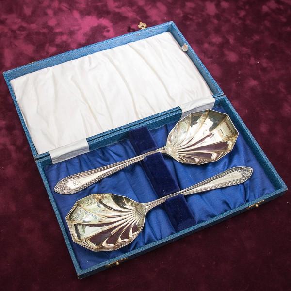 Набор из Двух Сервировочных Ложек для Подачи Silverplate SHEFFIELD Англия -1934 год.