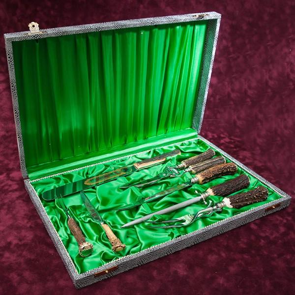 Набор для Барбекю «Охота» - 7 предметов, Германия, Carl Stoker SOLINGEN, 70 -е годы ХХ века.