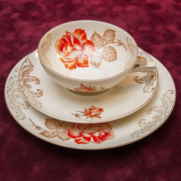 Чайная пара+Тарелка (Тройка) «Летняя Роза» Фарфор Бавария, 60 -е годы прошлого века.
