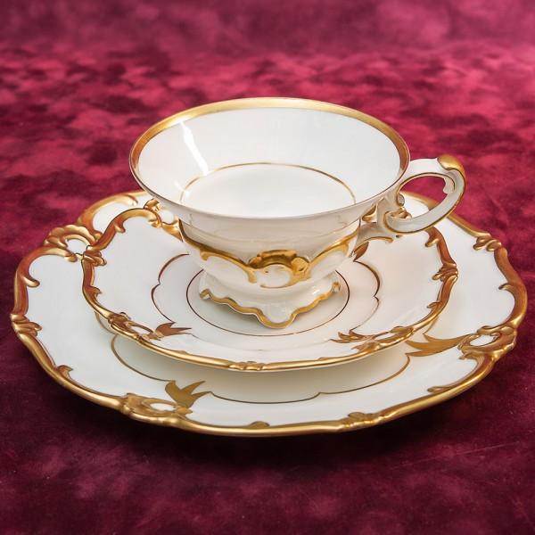 Коллекционная Чайная пара+Тарелка (Тройка) Фарфор Германия WEIMAR- первая половина ХХ века.