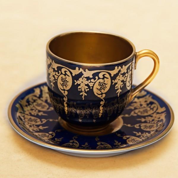 Кофейная Пара «Золотой Кобальт» Фарфор KRAUTHEIM Германия