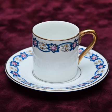 Кофейная Пара Ромашка в голубом канте Бавария