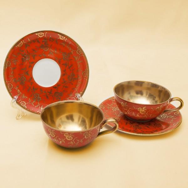 Две Кофейные Пары «Оранжевое Золото» Фарфор  Rhanakis Dulsdorf - Германия 60 -е годы ХХ века.