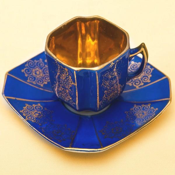 Редкая Коллекционная Кофейная Пара «Синяя ночь» Фарфор Fraureuf, Германия, 1910 - 1920 годы.