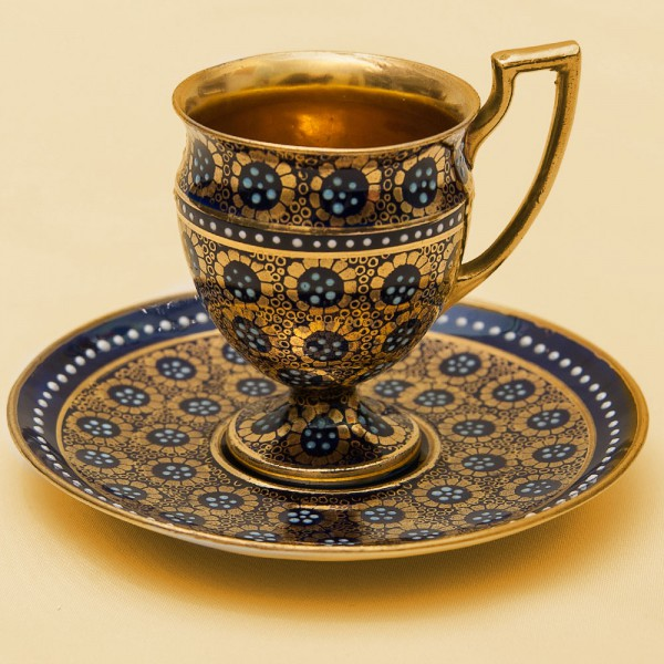 Кофейная Пара «Королевский Кобальт» Лимож Limoges Франция 50 -е годы ХХ века.