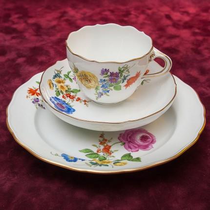 Коллекционная Чайная пара+Тарелка (Тройка) серии BLUME Фарфор MEISSEN / МЕЙСЕН Германия